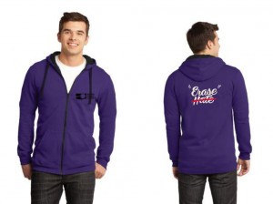Erase Hate Zip-Up Hoodie, Purple
