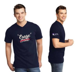 Erase Hate Shirt, Navy, V-neck